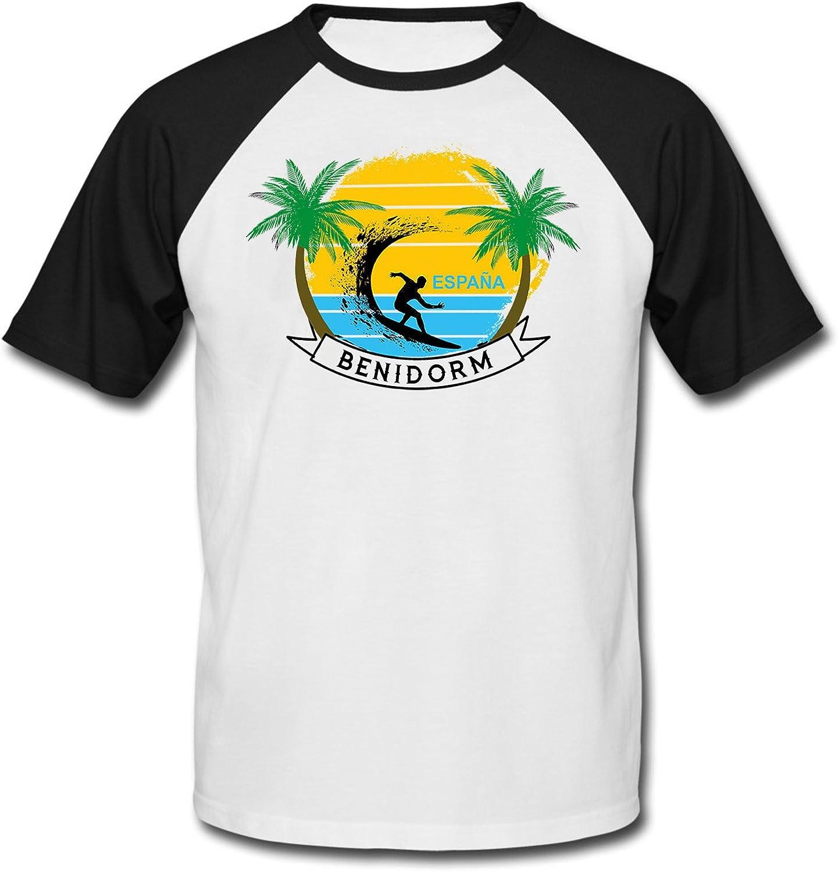 teesquare1st Benidorm Spain Camiseta DE Mangas Negra Cortas T-Shirt: Amazon.es: Ropa y accesorios