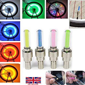 2 Pack LED Tire Wheel Valve Stem Cap Light For Car Bike Bicycle Motorcycle