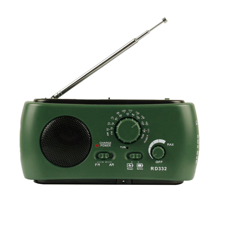 Qooltek Portable Emergency Radio Solar Hand Crank Self Powered AM FM Radio with LED Flashlight Cell Phone Charger