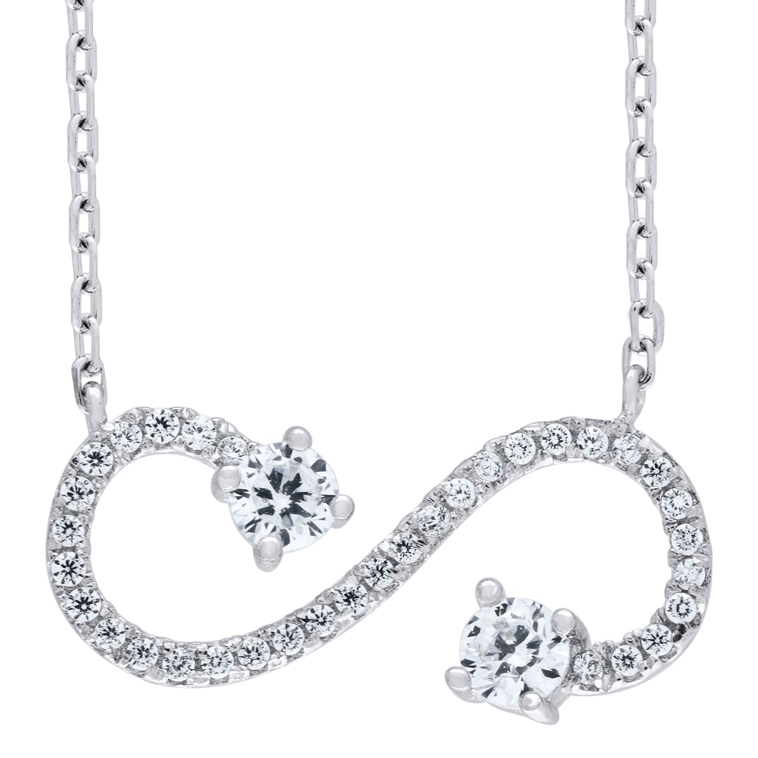 Jawa Jewelers 925 Sterling Silver CZ Infinity 2.37gm Womans Pendant Necklace