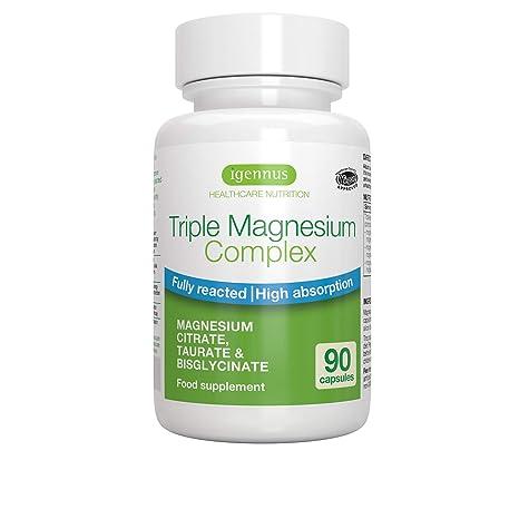 Triple Magnesium Complex, Citrato de magnesio completamente reaccionado, taurato y bisglicinato, Vegano,