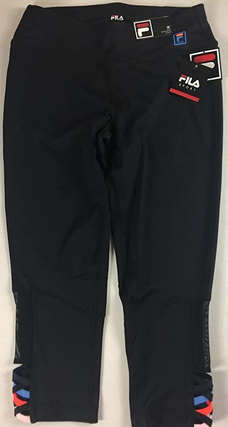 5d1325b41f7e Fila Sport Capri Leggings Womens SZ S/M Black Colorful Crop 28 x 21 Actual