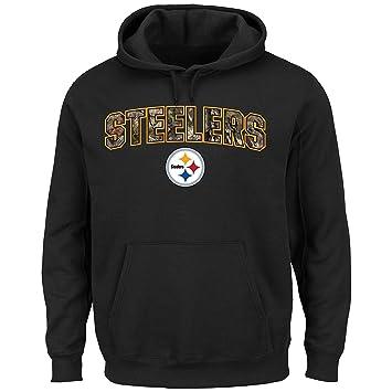 e50ce3507 Pittsburgh Steelers Men s Majestic NFL  quot Heritage Camo quot  Logo  Pullover Hoody Sweatshirt - Black
