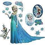 großes Set: Wandtattoo / Wandsticker - Disney die Eiskönigin - Aufkleber Wandaufkleber für Mädchen - völlig unverfroren Elsa Arendelle / Poster - Postersticker - Frozen - Prinzessin Olaf
