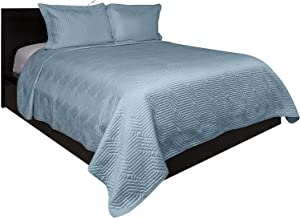 Lionel Richie Home Lifestyle Collection - 3 Piece King Size Lightweight Coverlet Set - Light Blue 100% Polyester Soft Coverlet - 1 Coverlet, 2 Shams Premium Quality