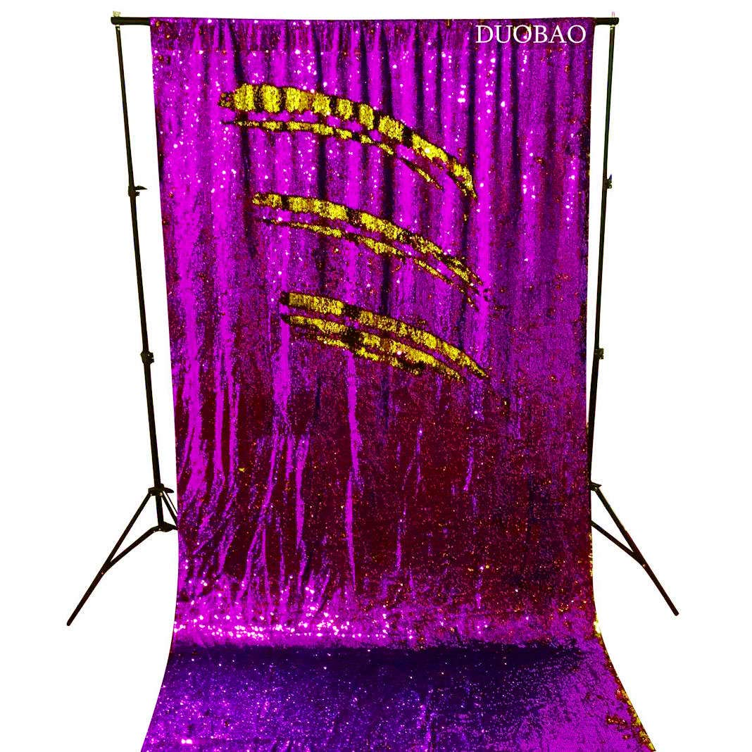 DUOBAO Sequin Backdrop Curtains 2 Panels 4FTx8FT Reversible Sequin Curtains Purple to Gold Mermaid Sequin Curtain for Wedding Backdrop Party Photography Background