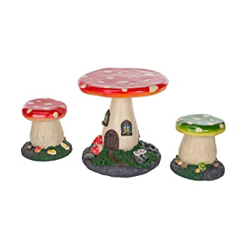 kids mushroom outdoor garden patio furniture set fairytale style table and chairs for children by