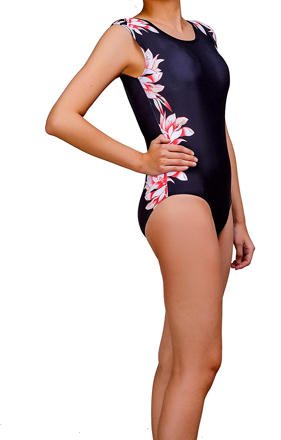Crazycatz@ Womens Cap Sleeve One Piece Swimsuit High Neck Open Back Cut Out one Piece Swimwear
