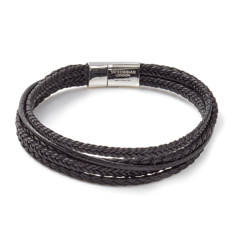 Tateossian Mens Cobra Multistrand Italian Leather Bracelet with D shaped Cobra Black - Medium 18cm BL7779