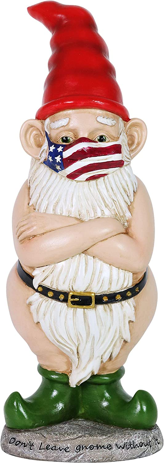 """Exhart Good Time Limited Edition Naked Gnome Statue w/Patriotic Face Mask """"Don't Leave Gnome Without It"""" – Outdoor Naughty Gnome for Patio or Garden - UV Treated & Weather Resistant Gnome Statue -14"""""""