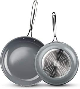 KUTIME frying pan set of 2, 8.7-Inch & 11-Inch frying pan nonstick Fry Pan Ceramic Coating Skillet with Stainless Steel Handle, Gas, Induction Compatible, Oven Safe, Gray
