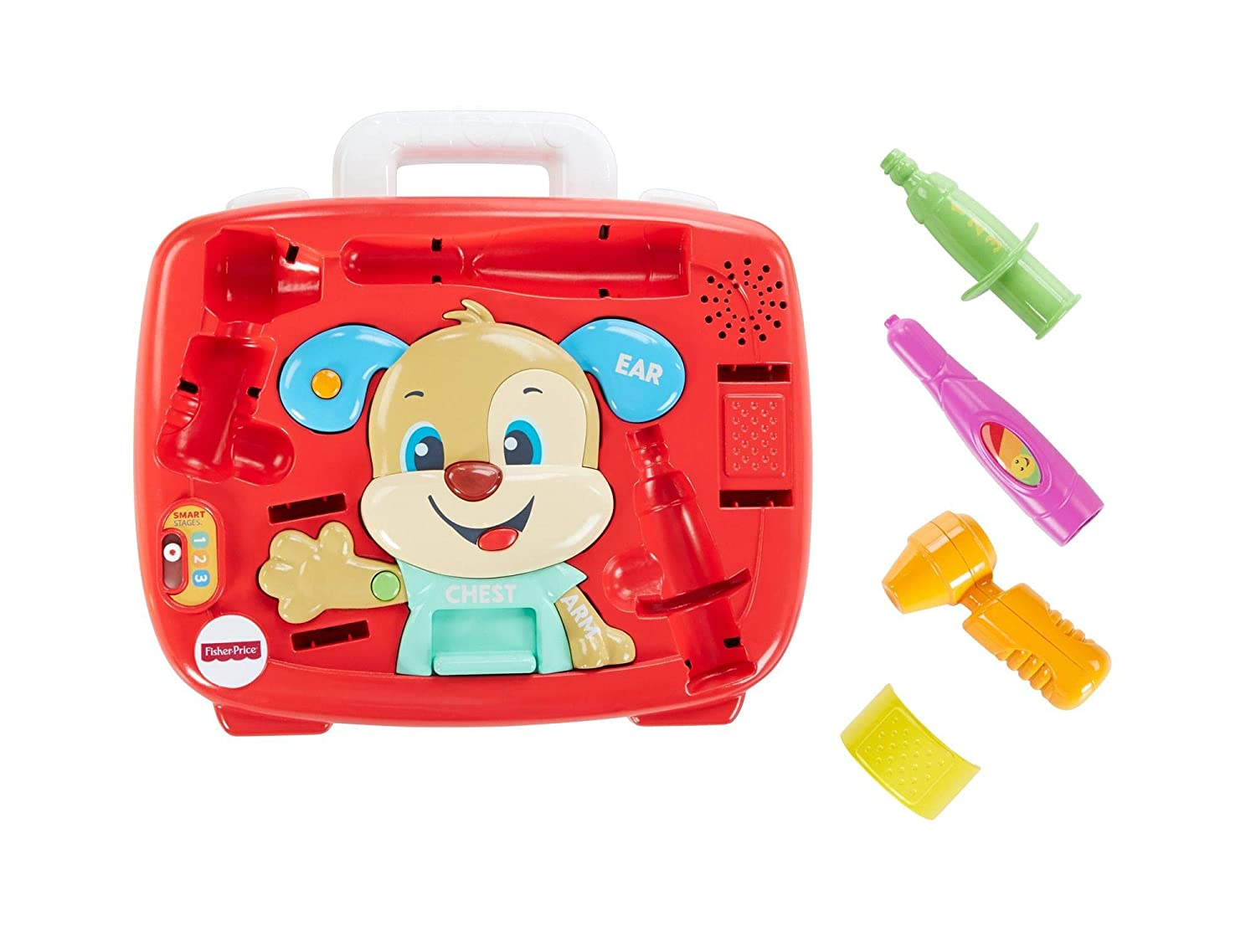 Fisher-Price FTH19 Laugh and Learn Puppy's Check-Up Kit, Doctors Role Play Toy Set for Children Speaking, Suitable for 18 Months Plus Mattel 887961644166