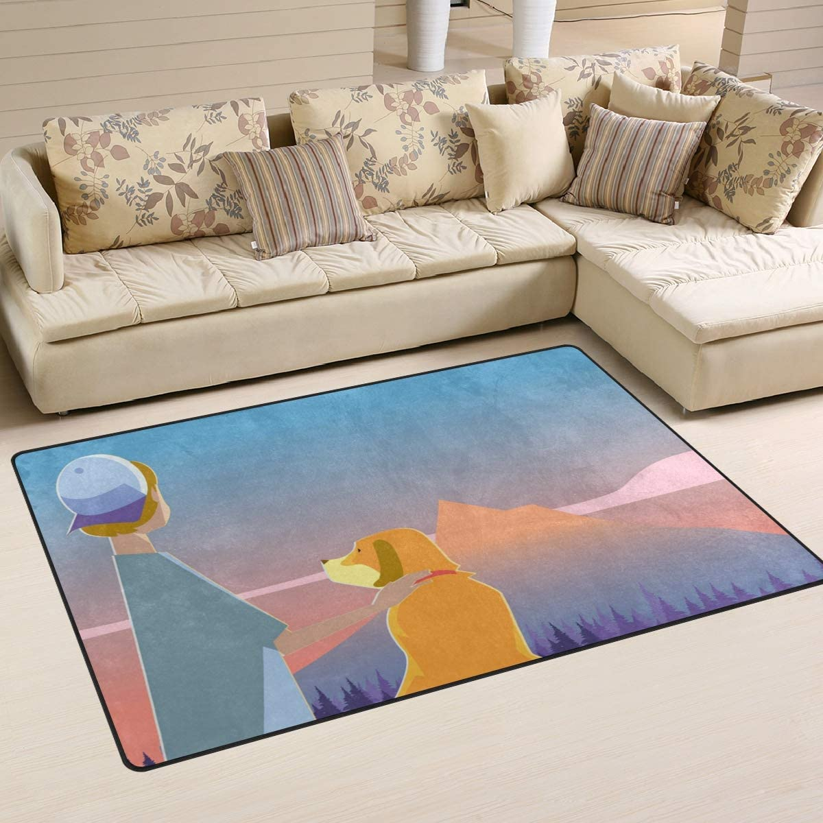 : Area Rug Simple Modern Carpets Boy with His Dog