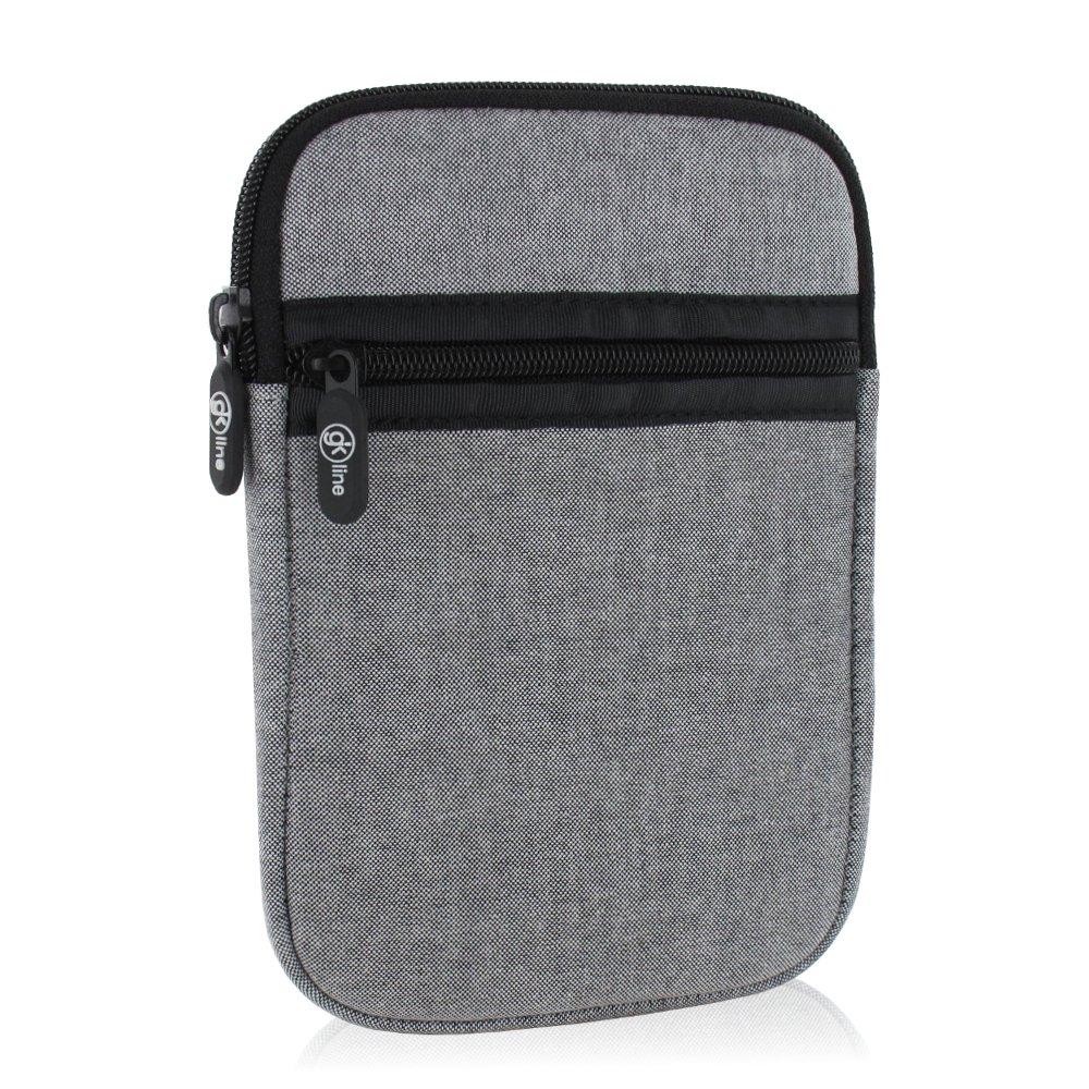 gk line Schutzhülle für eBook Reader Tasche Hülle Neopren Case Reißverschluss grau für max. Abmessungen von 180 x 120 mm
