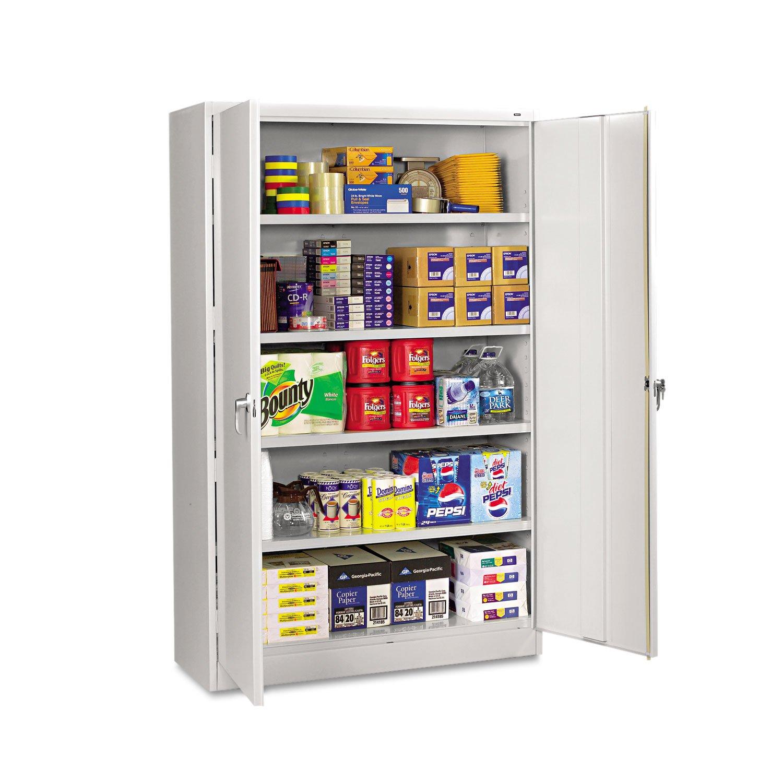 Tennsco J2478SU Heavy Gauge Steel Jumbo Storage Cabinet, 5 Shelves, 400 lbs Capacity per Shelf, 48'' Width x 78'' Height x 24'' Depth, Light Grey by Tennsco