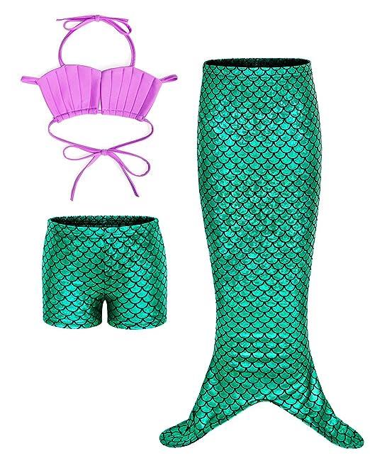 AmzBarley Traje de baño de Cola de Sirena para niñas, Traje de baño de Princesa Ariel, Disfraz para niños Green 02 5-6 Años