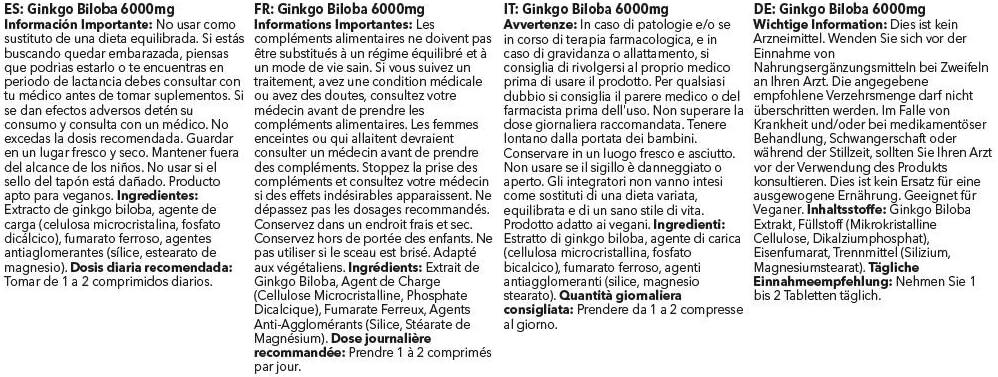 Ginkgo Biloba Tablets 6000mg (120 Tabs): Health & Personal Care