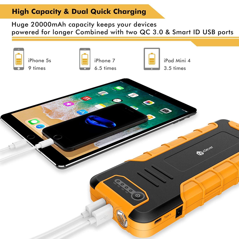 20000mAh Arrancador port/átil para saltos de autom/óvil Arrancador de bater/ía para autom/óvil iClever Cargador de bater/ía externa con linterna LED hasta 8L de gasolina o Diesel de 6.5L