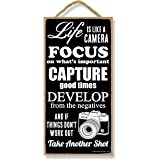 Honey Dew Gifts Life is Like a Camera 5 inch by 10 inch Hanging Decor, Inspirational Wall Art, Decorative Wood Sign Home Deco