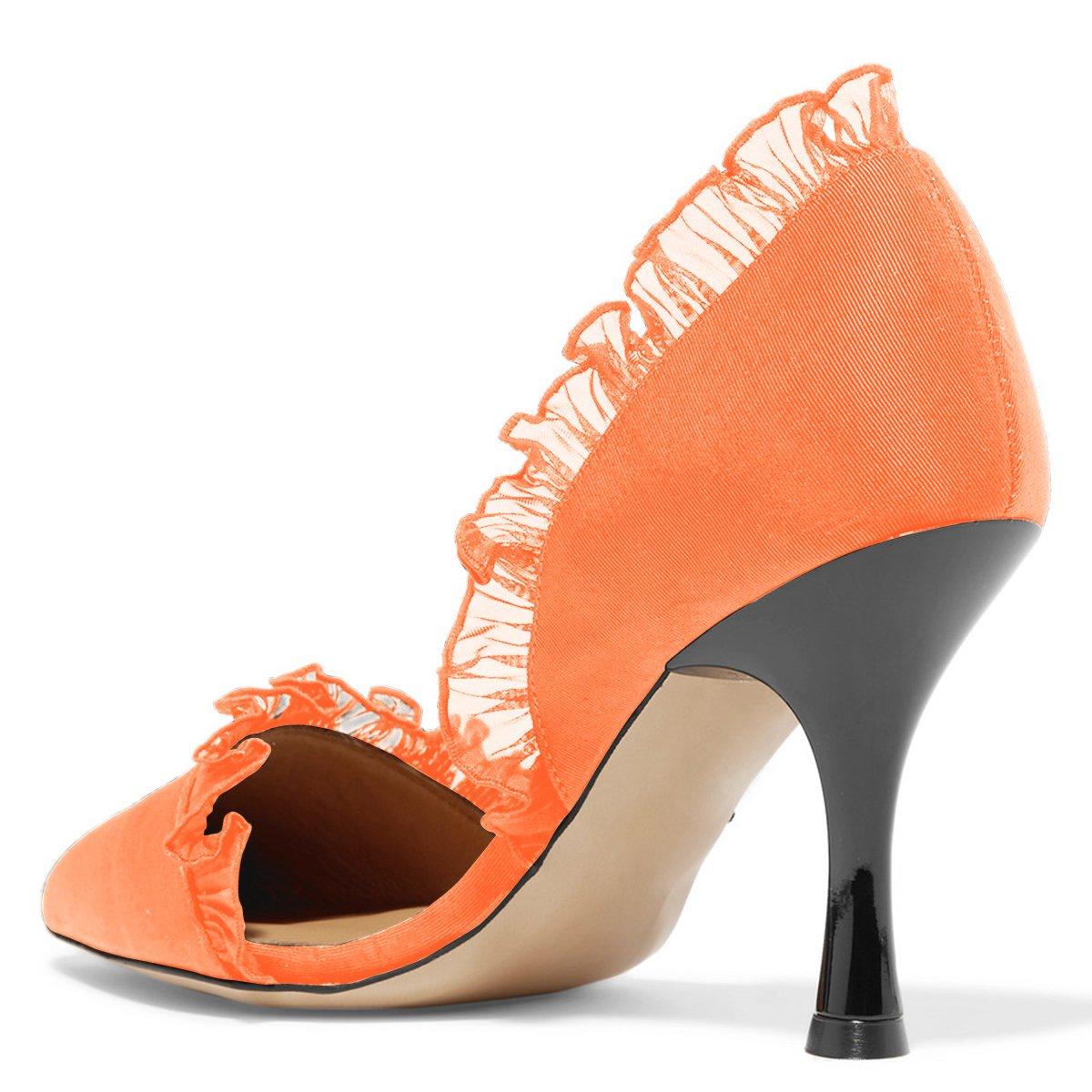 XYD Women Lace D'Orsay Pumps Pointed Toe Stiletto Dress High Heels Slip on Dress Stiletto Wedding Bridal Shoes B07BHG8QF5 14 B(M) US|Orange 231ad7
