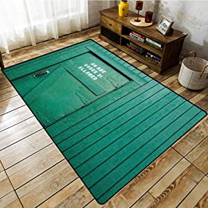 Custom Rug,Teal,Monochrome Vintage Wooden Local Irish Pub Rustic Door with Warning Phrase Culture Photo,for Outdoor and Indoor Teal