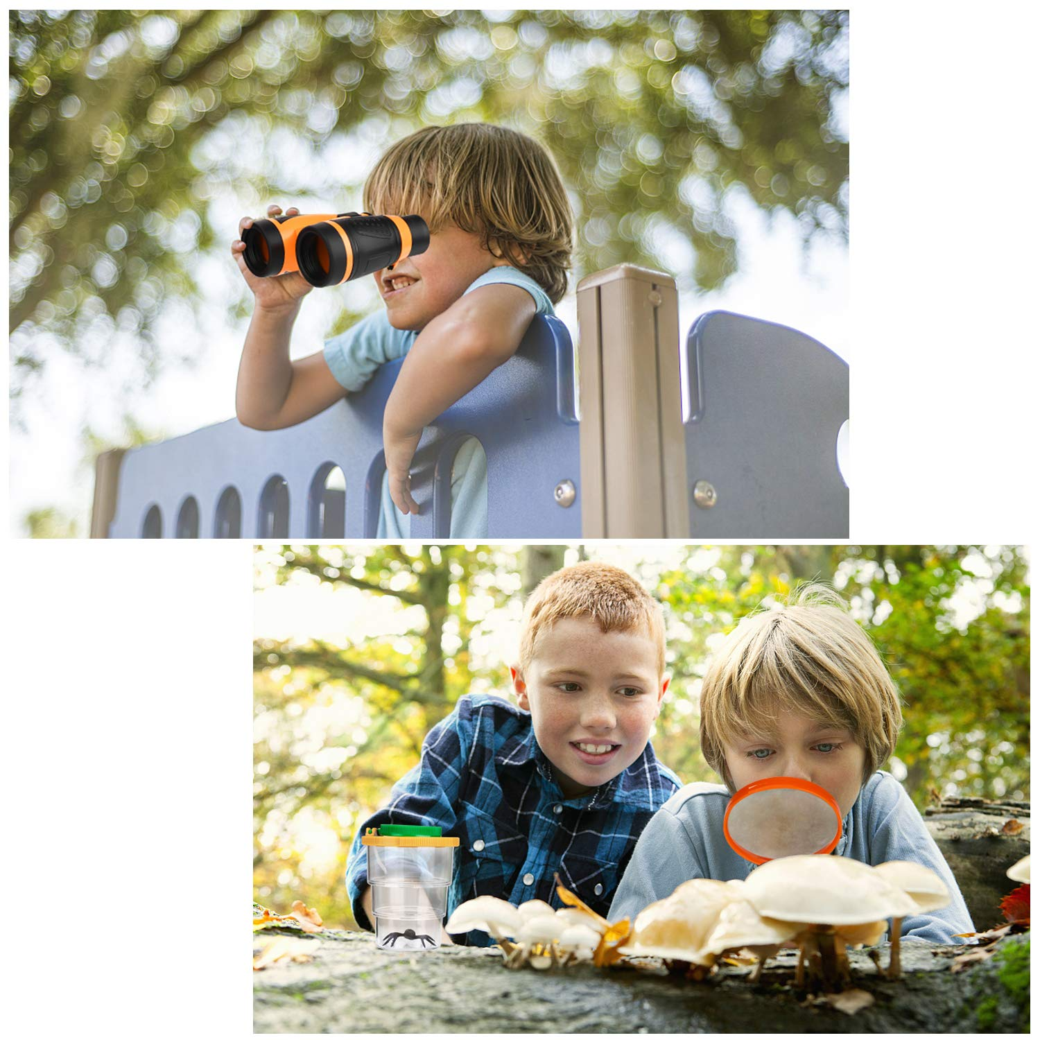 Kids Binoculars Toy Set, Outdoor Exploration Set, Best for 3 4 5 6-12 Year Old Boy and Girl, Kids Adventure Kit, Children Outdoor Educational Kit