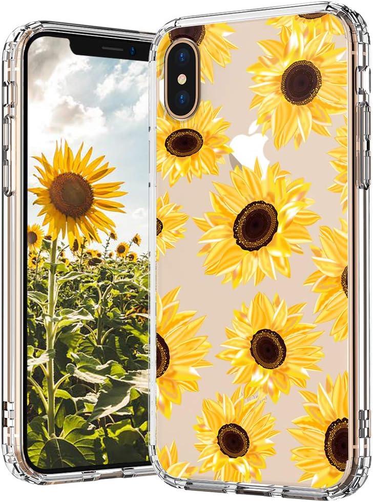 MOSNOVO Sunflower Floral Flower Pattern Designed for iPhone Xs Case/Designed for iPhone X Case - Clear