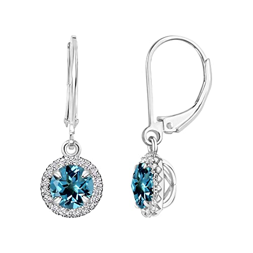 Sterling Silver Round Gemstone and Created White Sapphire Halo Leverback Dangle Earrings