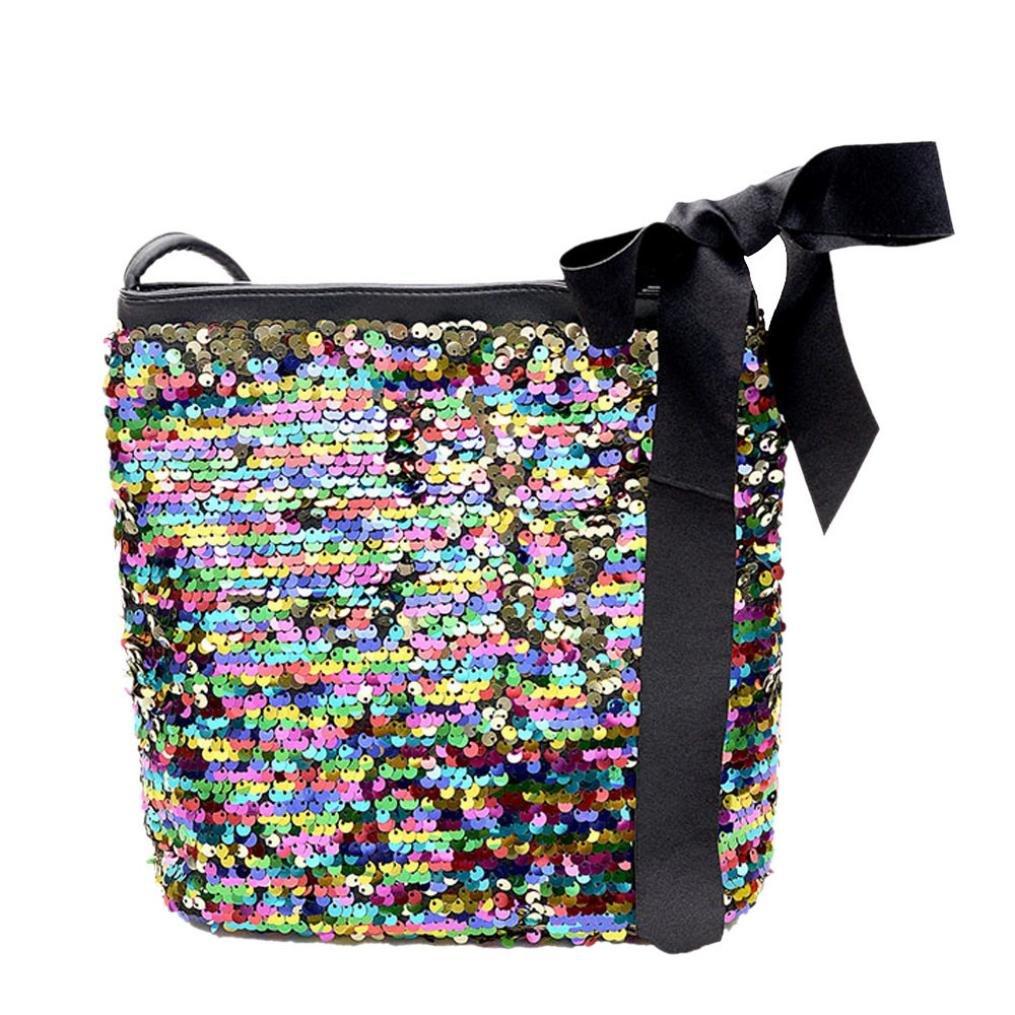 Yuxing Girls Fashion Colorful Sequins Crossbody Shoulder Bag (Multicolor)