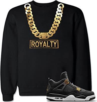 FTD Apparel Mens Royalty Crown Retro 4 Metallic Gold Pullover Hooded Sweater