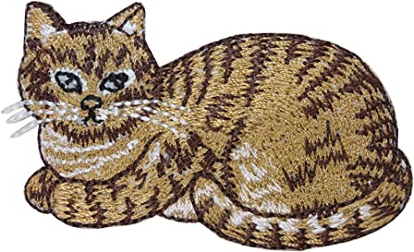 Cute Tabby Cat animal Embroidered Iron Sew on Patch #796