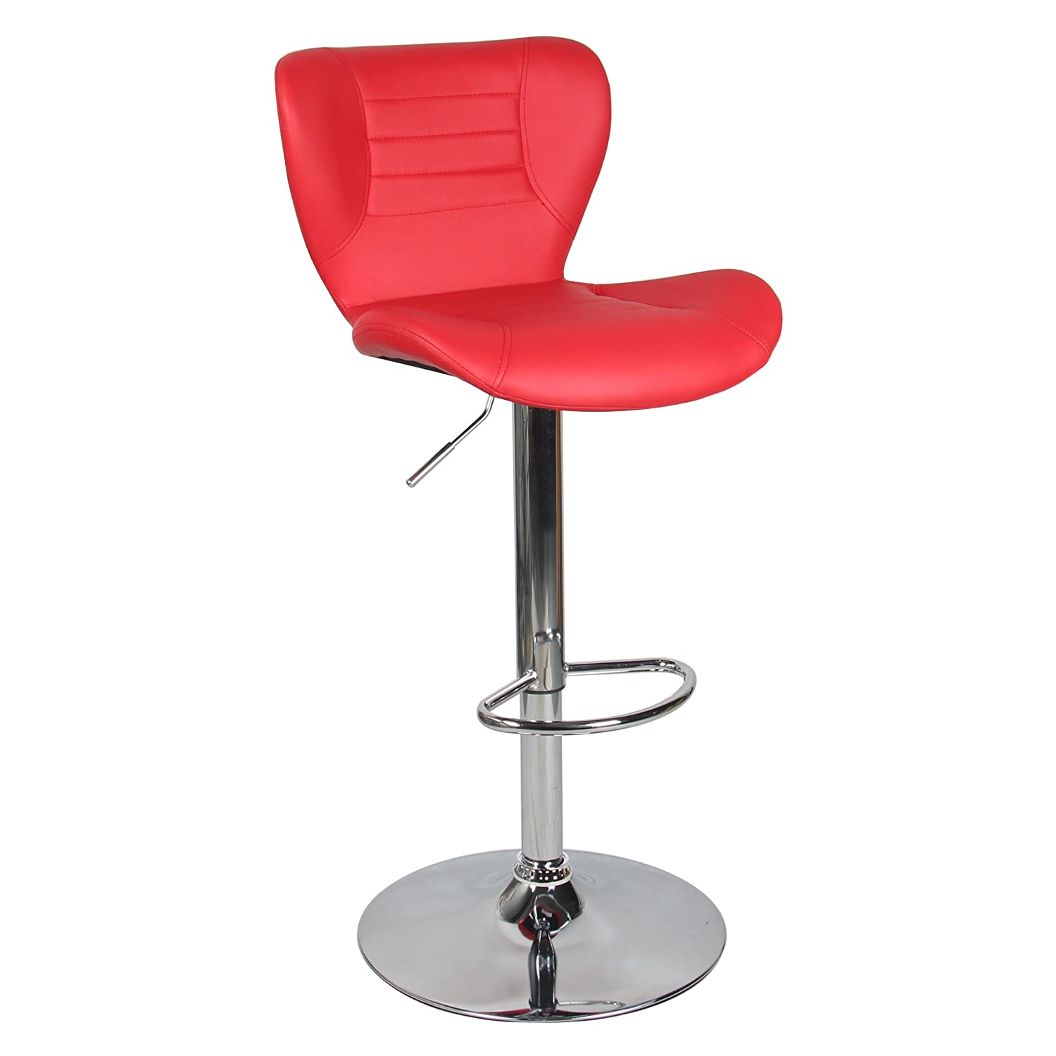 Moustache High Back Butterfly Swivel Height Adjustable PU Leather Pub Bar Stool Chair, with Backrest & Footrest - Black MOFC-D6005-BK