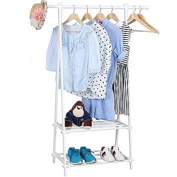 Kleiderständer Weiß Metall songmics kleiderständer garderobenständer mit 2 ablagen höhe 150 cm