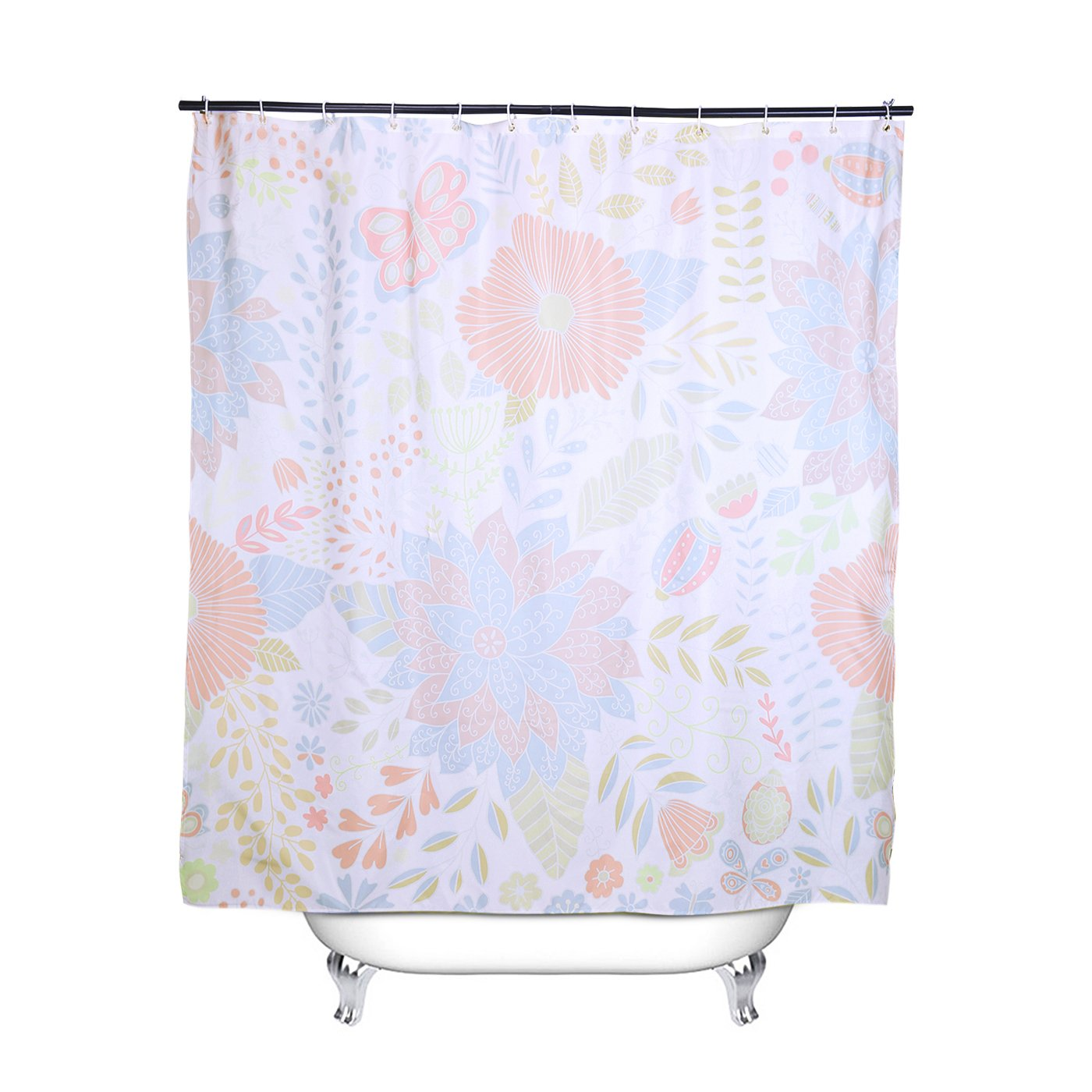 HDE Shower Curtain with Hooks Mildew Resistant Water-Repellent 72x72 Decorative Patterned Fabric Curtain with Heavy Duty Metal Grommets Simple Floral