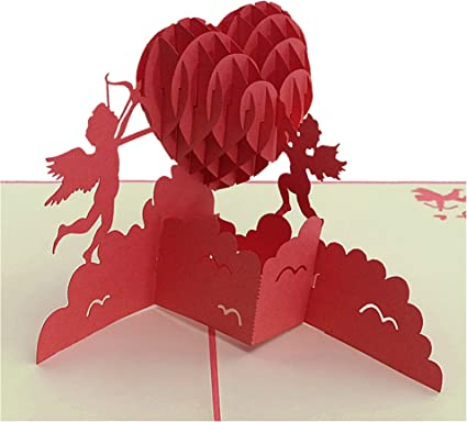 Tarjeta 3D - Corazón angular, aniversario, tarjeta de San Valentín ...