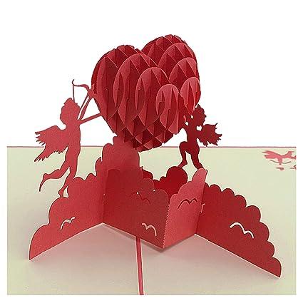 Tarjeta 3D - Corazón angular, aniversario, tarjeta de San ...