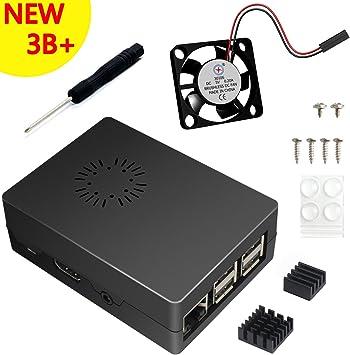 ABS Negro Caja Para Raspberry Pi 3 Modelo B+ Plus With Ventilador ...