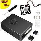 Clearain 3 en 1 Kit pour Raspberry Pi 3 Model B+ Plus,cas boitier noir + ventilateur + dissipateur