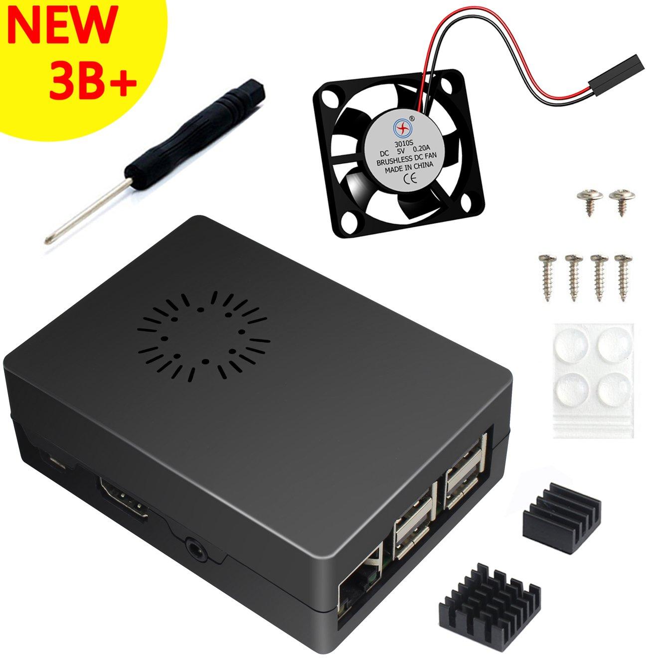 ABS Negro Caja Para Raspberry Pi 3 Modelo B+ Plus With Ventilador, Dos Disipadores De