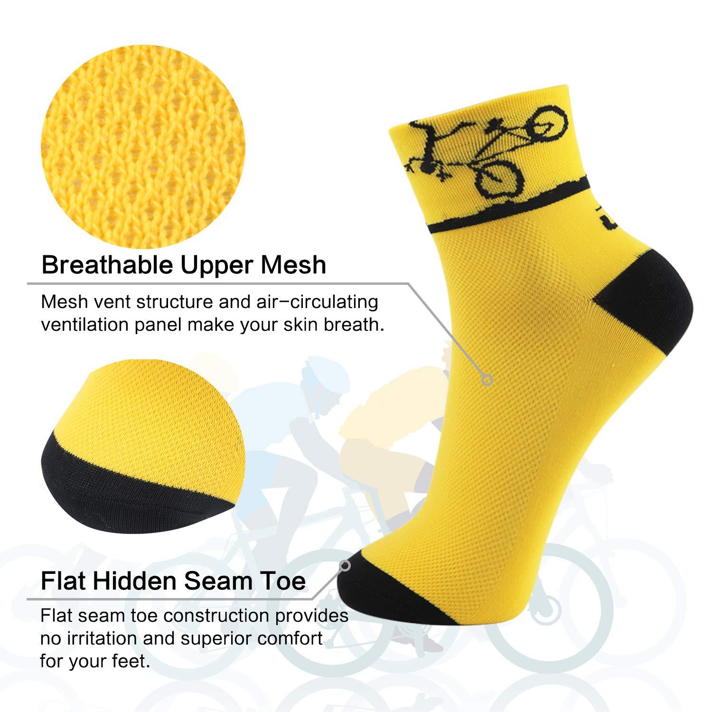Lin Cycling Socks Coolmax Bike Jersey Socks Yellow Green White Red Polka Dots Running Hiking Socks 4 Pack