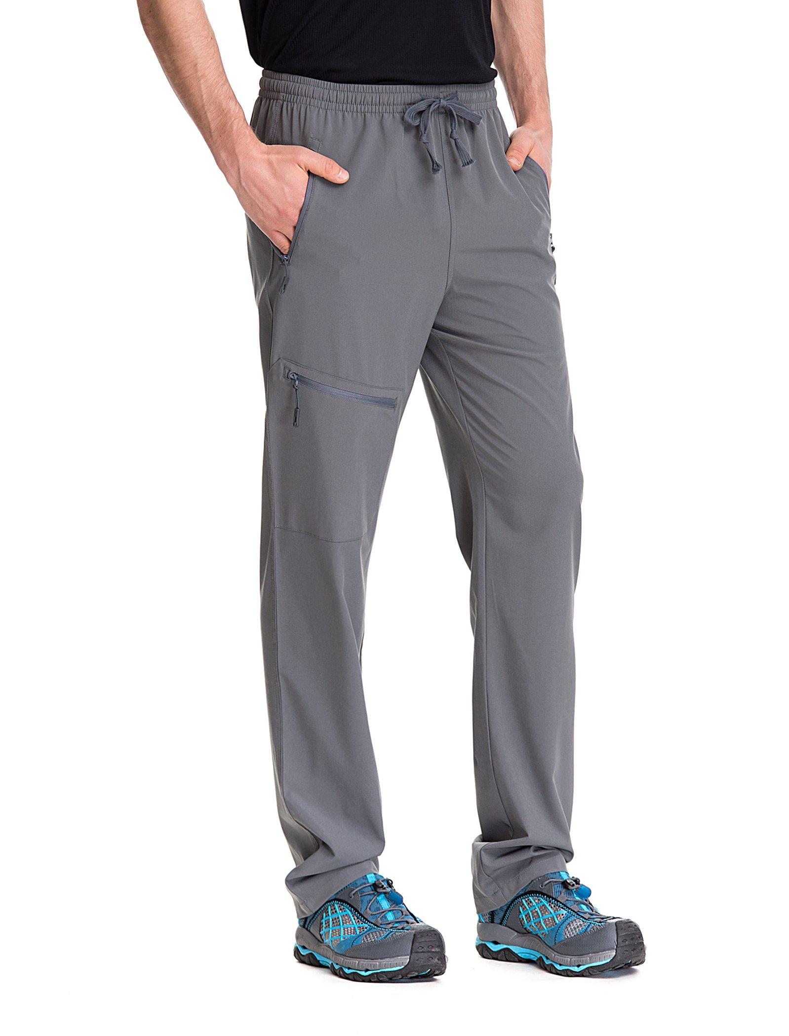 Trailside Supply Co. Men's Light Weight Stretch Elastic-Waist Drawstring Track Running Gym Pants Large Dark Grey