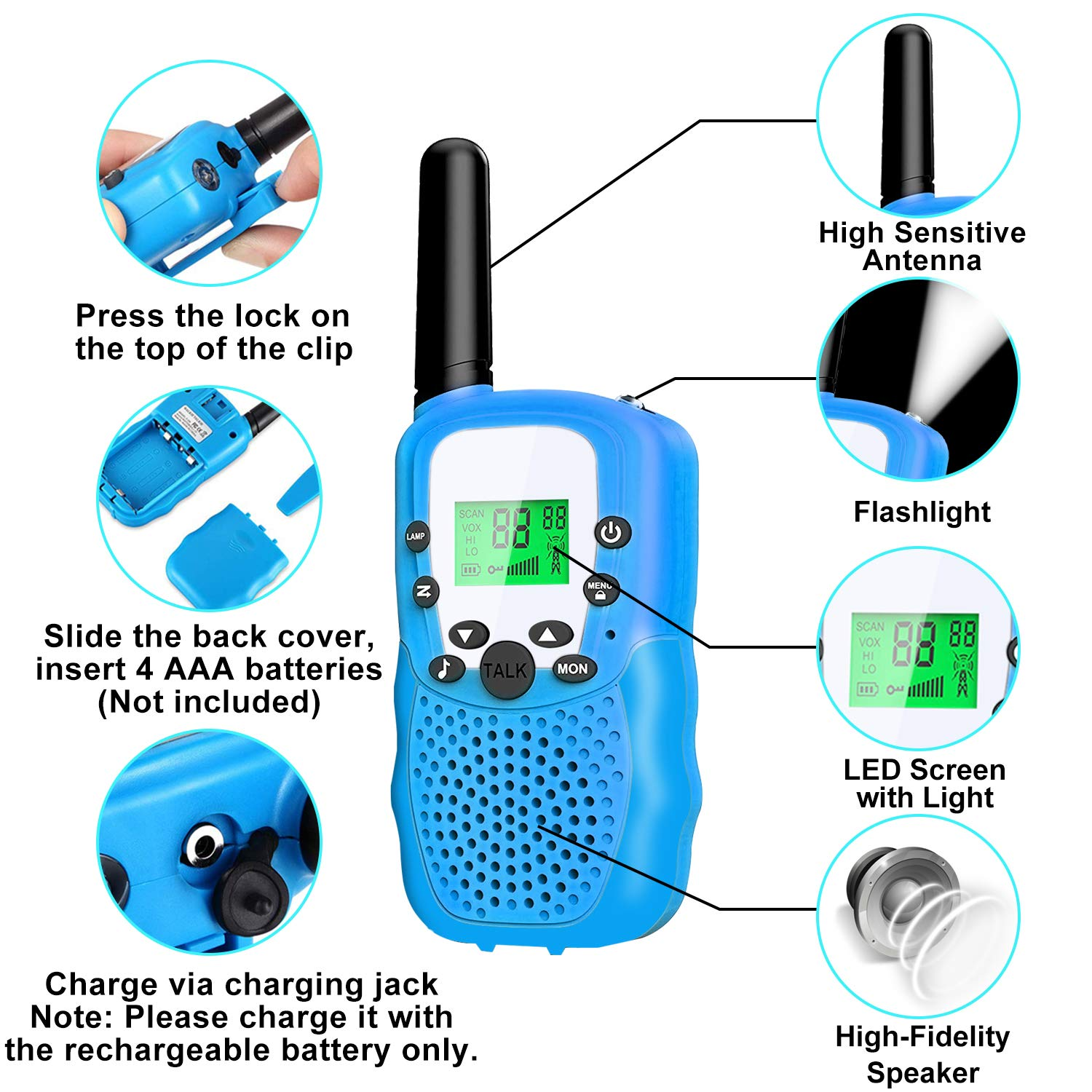 4 Pack Kids Walkie Talkies - 22 Channels 2 Way Radio Long Range Kids Toys, Handheld Child Walkie Talkies for Boys Girls with Flashlight for Sport Outdoor Camping Hiking Prime Electronic Toy Gifts by AMENON (Image #6)