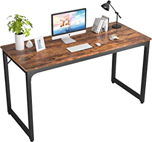 """Foxemart 47 Inch Computer Desk Sturdy Office Desks 47"""" Modern PC Laptop Notebook Study Writing Table for Home Office Workstation, Rustic Brown"""