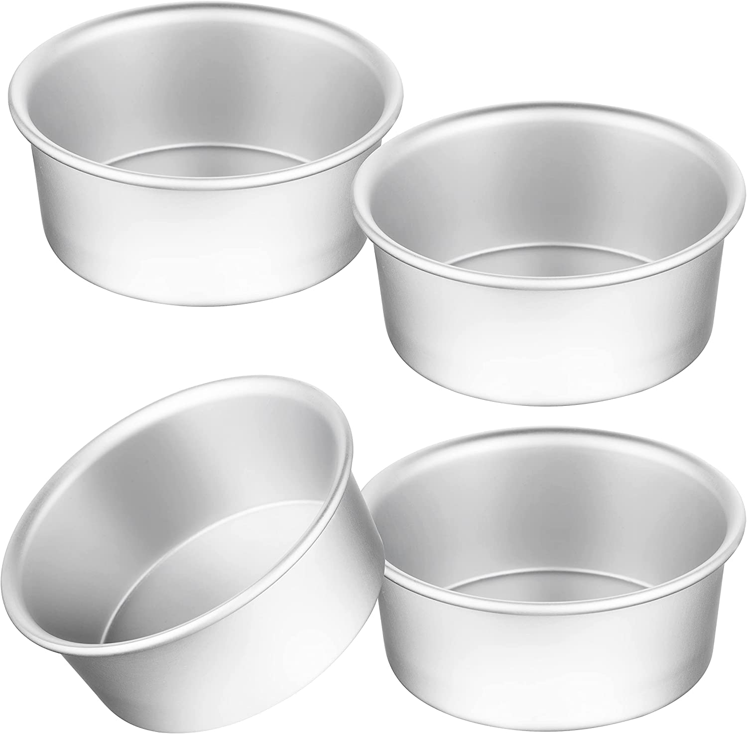 4 Inch Cake Pan, Kmeivol 4 Pack Round Cake Pans, Aluminum Baking Pan, Small Angel Food Cake Pan for Ice Cream Cakes, Mini Pizza & Quiche, Leakproof & Easy to Clean, Mirror Finish & Easy Releasing