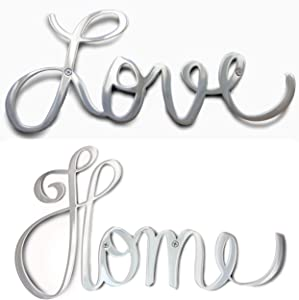 Way Of Hearts Metal Home and Love Signs Bundle-Silver Wall Decor-Farmhouse Wall Decorations for Living Room-Wall Art- Home and Kitchen Decor-Room Decor-Polished Stainless Steel Signs