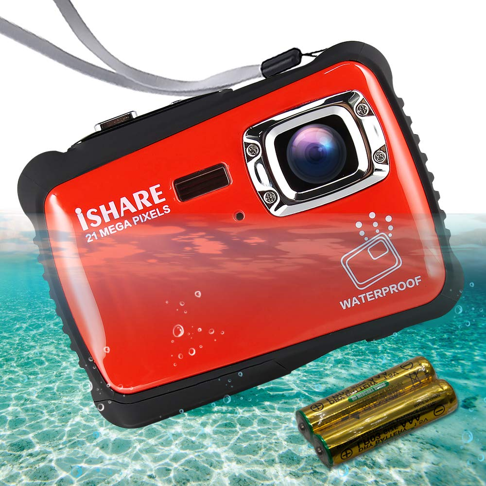 ISHARE Waterproof Kids Camera  21MP HD Underwater Digital Camera for Kids with 2 0 LCD  8X Digital Zoom  Flash and Mic for Girls Boys  RED
