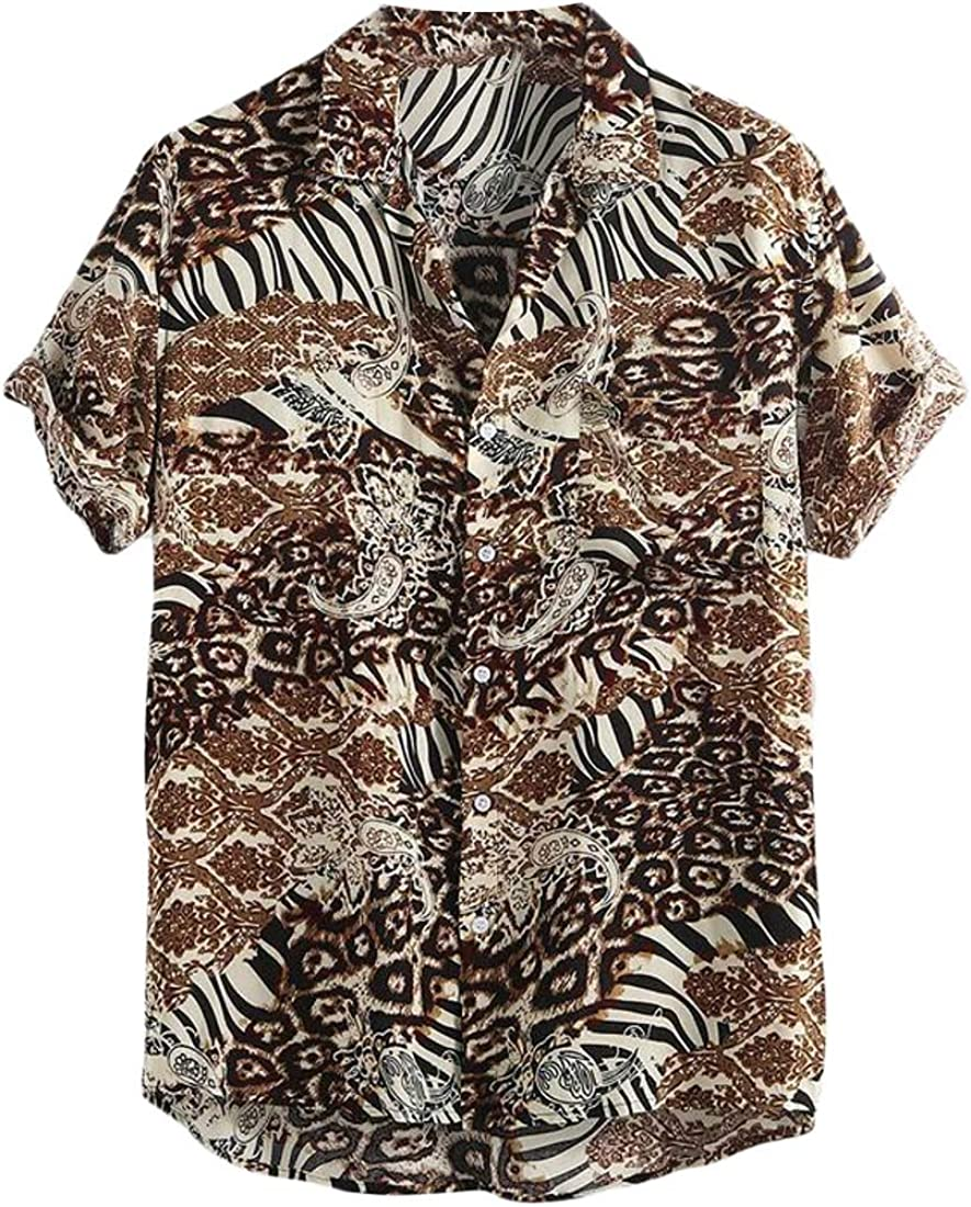 Domple Mens Short-Sleeve Loose Fit Oversized Beach Printed Button Up Dress Shirt