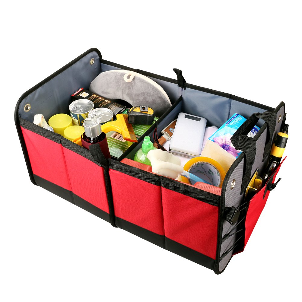 Auto Travel Foldable Container Waterproof Travel Storage Box Bin 3 Compartments 2 Pockets Fabric Storage Basket Cooler /& Warmer Set Black-Style 4 Mrcartool Car Trunk Organizers