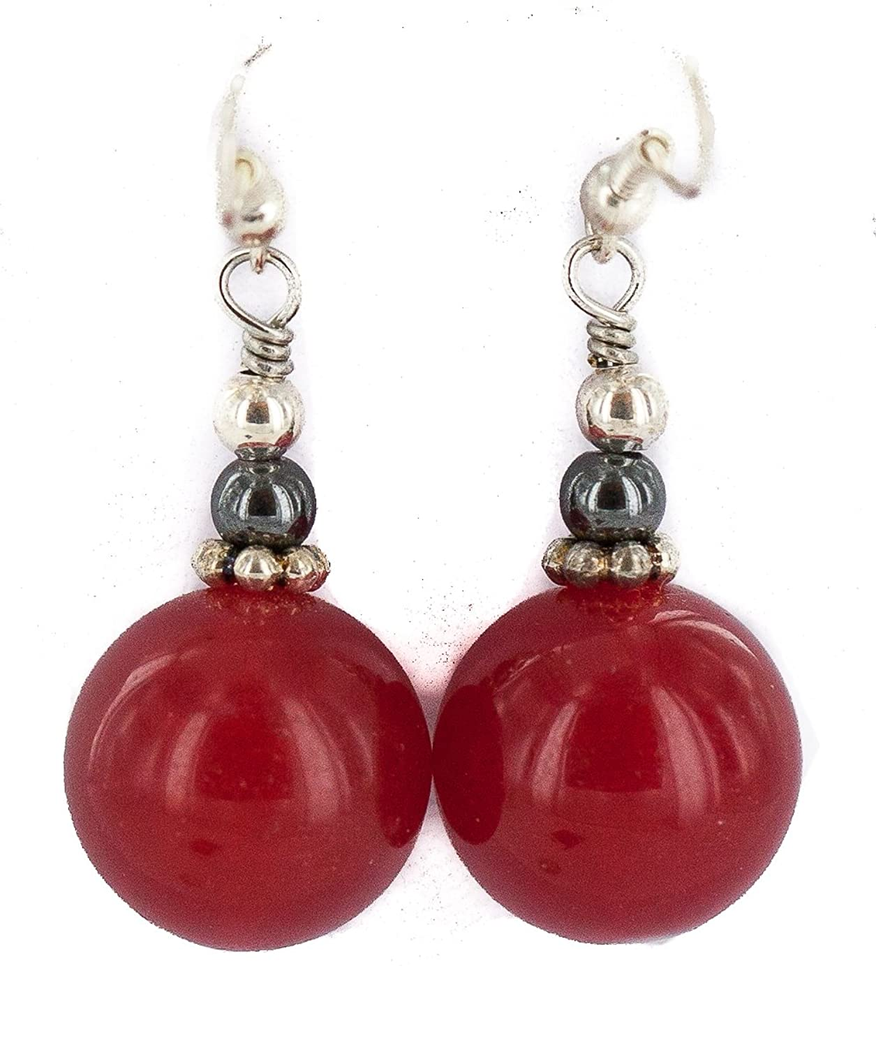 $80 Retail Tag Silver Hooks Authentic Navajo Made by Charlene Little Natural Red Agate Native American Dangle Earrings