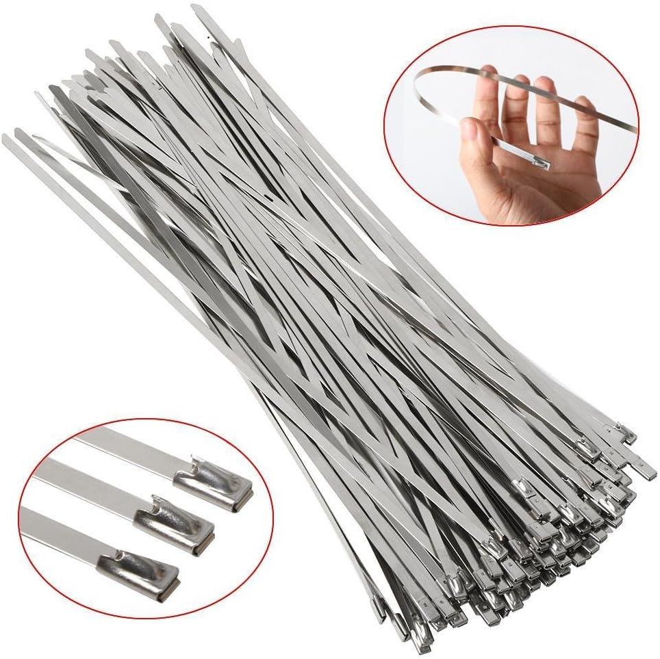 Yahee 100 Pieza Bridas Metalicas Cable Lazos 4.6mm x 300mm Color Plata